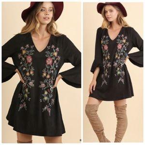 Umgee Olive Floral-embroidery Boho Suede Dress